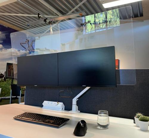 Filex hygiëne vesa acryl scherm 70x60 2 monitoren M