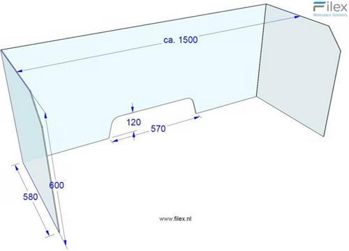 Filex – universeel hygiëne bureauscherm van acryl 150x60