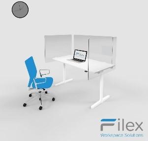 Filex - Plexi Bureau-zijwand 100 x 80 (b+h) incl. bevestigingsmateriaal