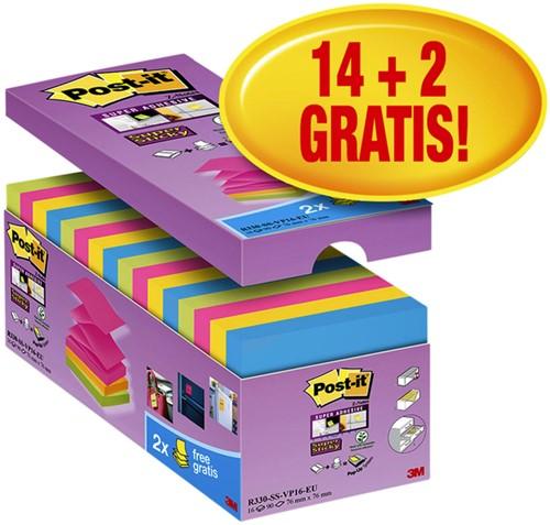 Memoblok 3M Post-it Z-Note S330-16 76x76mm Super Sticky 14+2