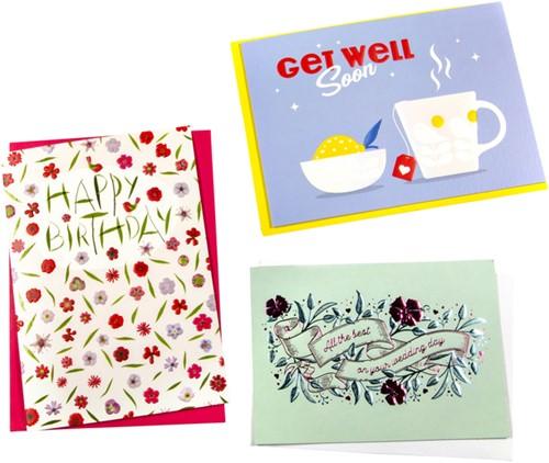 Wenskaart Paperclip navulset Engels assorti set à 6 kaarten