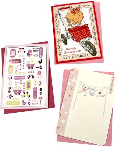 Wenskaart Paperclip navulset geboorte dochter set à 6 kaarten