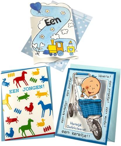 Wenskaart Paperclip navulset geboorte zoon set à 6 kaarten