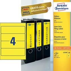 Rugetiket Avery breed 61x192mm zelfklevend geel