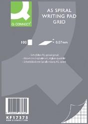 Schrijfblok Q-Connect A5 ruit 5mm spiraal 70 gram