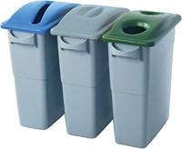 Afvalbakdeksel slim jim blauw voor papier-2