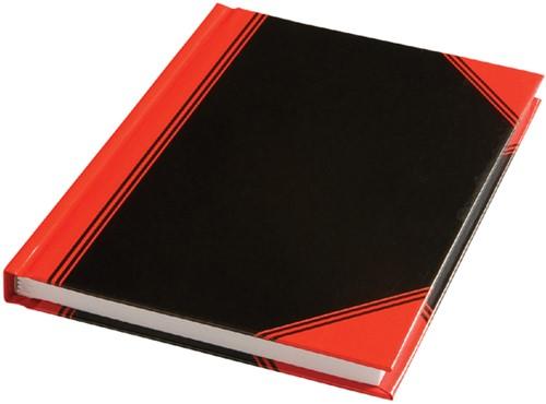 Notitieboek zwart/rood A6 lijn 60gr 96vel
