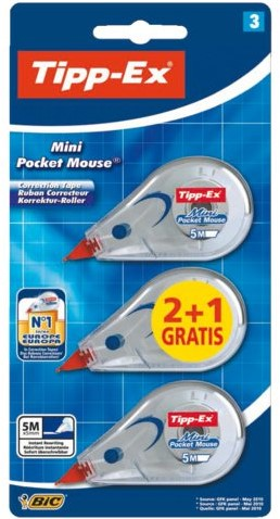 Correctieroller Tipp-ex Pocket Mini Mouse blister 2+1 gratis