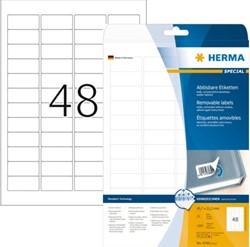 Etiket Herma 4346 45.7x21.2mm verwijderbaar wit 1200stuks