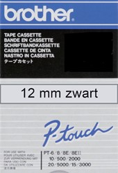 Labeltape Brother P-touch TC101 12mm zwart op transparant