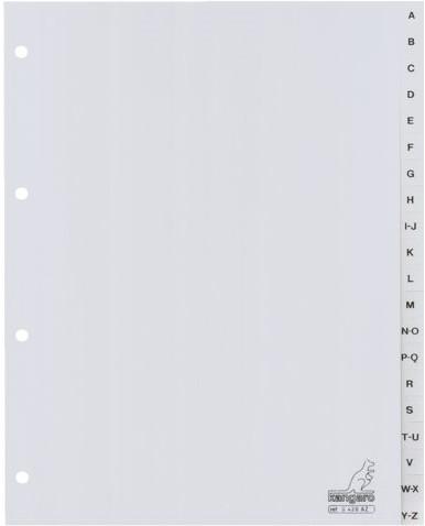 Tabbladen Kangaro 4-gaats G420AZ 20-delig alfabet grijs PP