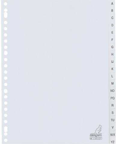 Tabbladen Kangaro 23-gaats G420AZM 20-delig alfabet grijs PP