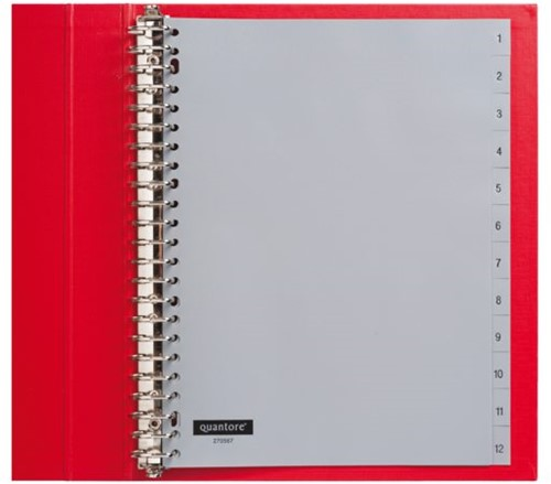 Tabbladen Quantore 23-gaats 1-12 genummerd grijs PP