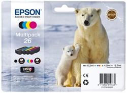 Inkcartridge Epson 26 T2616 zwart + 3 kleuren