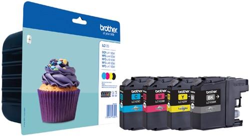 Inktcartridge Brother LC-123VALBP zwart + 3 kleuren