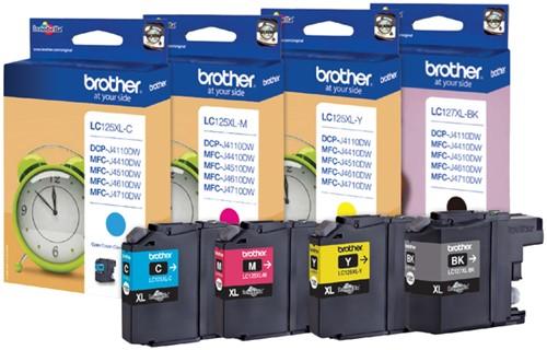 Inktcartridge Brother LC-127XLVALBP zwart + 3 kleuren HC