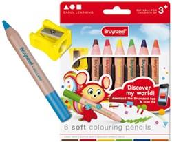 Kleurpotloden Bruynzeel 2205 Young extra dik pastel 6stuks