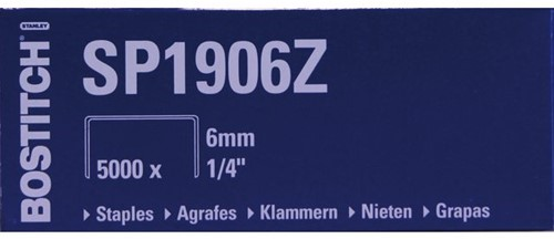 Nieten Bostitch SP1906Z staal 6mm rechte rug 5000stuks