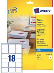 Etiket Avery J8161-10 63.5x46.6mm wit 180stuks