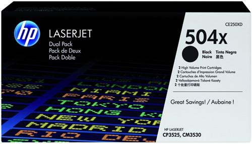 Tonercartridge HP CE250XD 504XD zwart 2x HC