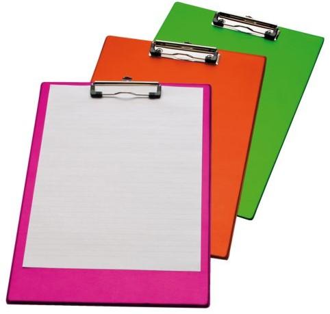 Klembord LPC A4/Folio met 100mm klem neon roze