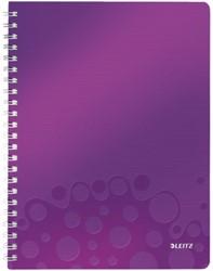 Notitieboek Leitz WOW A4 spiraal PP lijn paars