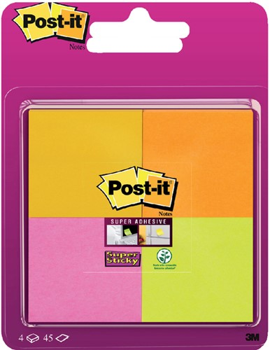 Memoblok 3M Post-it 6910 Super Sticky 51x51mm assorti