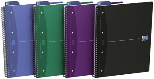 Spiraalblok Oxford Essentials A4+ 90vel 4-gaats ruit 5mm
