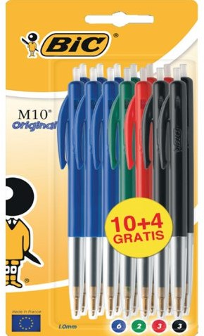 Balpen Bic M10 assorti medium blister à 10+4 gratis
