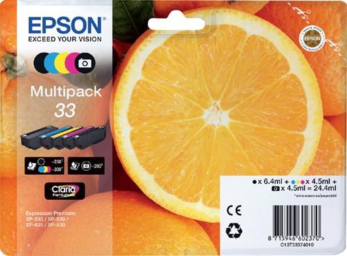Inktcartridge Epson 33 T3337 2x zwart + 3 kleuren
