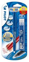 Rollerpen PILOT Frixion BL-FR7 0.4mm + 3 vullingen blauw