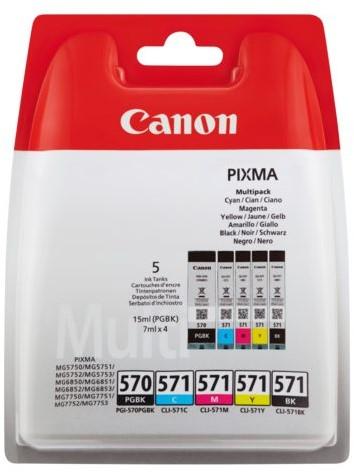 Inktcartridge Canon PGI-570 + CLI-571 2x zwart + 3 kleuren