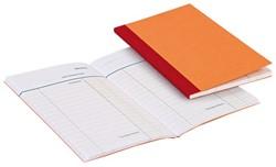 Kasboek 135x85mm 3 kolommen 72blz oranje