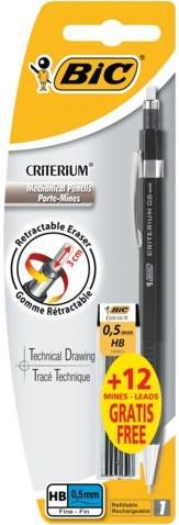 Vulpotlood Bic Criterium Ø0,5mm zwart met 12 gratis stiften