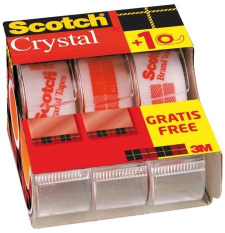 Plakband Scotch 600 19mmx7.5m Crystal Clear + handafroller