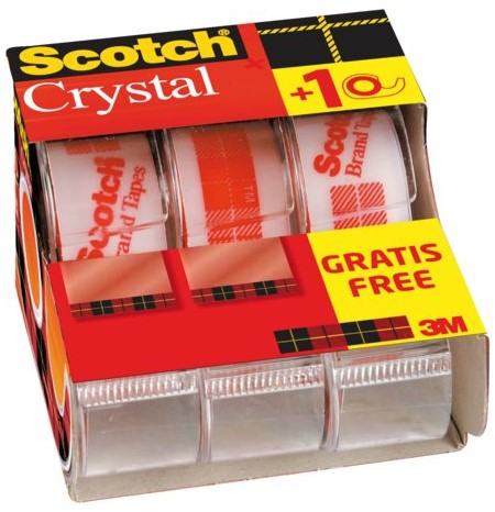 Plakband Scotch Crystal 600 19mmx7.5m + handafroller