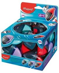 Puntenslijper en gum Maped Moondo à 24 stuks assorti in disp