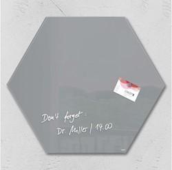 Glasbord Sigel magnetisch 400x460x15mm zeskantig grijs