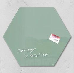 Glasbord Sigel magnetisch 400x460x15mm zeskantig groen