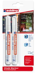 Krijtstift edding 4095 rond wit 2-3mm blister 2stuks