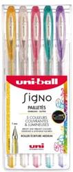 Gelschrijver Uni-ball Signo glitter assorti 0.65mm etui à 5st