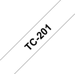 Labeltape Brother P-touch TC201 12mm zwart op wit