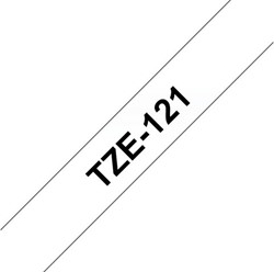 Labeltape Brother P-touch TZE121 9mm zwart op transparant