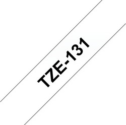 Labeltape Brother P-touch TZE131 12mm zwart op transparant