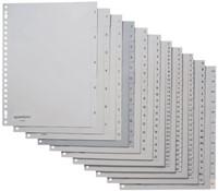 Tabbladen Quantore 23-gaats 20-delig met alfabet grijs PP-2