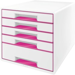 Ladenblok Leitz WOW 5 laden wit/roze