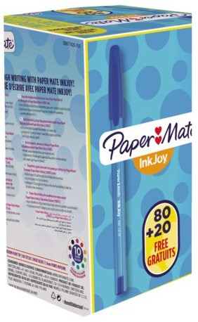 Balpen Paper Mate Inkjoy 100 blauw medium 80+20 gratis-1