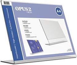 Tafel folderstandaard OPUS 2 A4 liggend glashelder