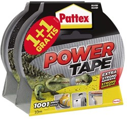 Plakband Pattex Power Tape 50mmx10m grijs 1+1 gratis