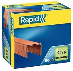 Nieten Rapid 24/6 kopercoating standaard 5000 stuks